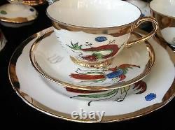 Vintage Gilded Oriental Lithophane Imoto Hhp Dragon Cockerel Part Teaset 26 Pc