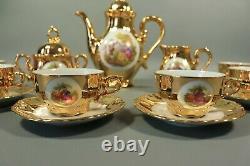 Vintage Gold Gilt Porcelain Tea Pot Cup and Saucer Set Fragonard BAVARIA Germany