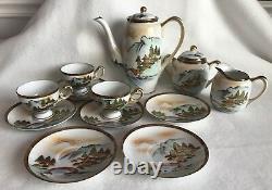 Vintage Hakusan China Porcelain Hand Painted Tea Set Occupied Japan Kilimanjaro