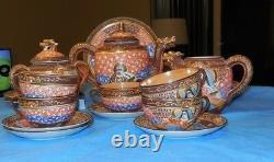 Vintage Hand Painted 20 piece Satsuma Moriage Dragon withGeisha Porcelain Tea Set