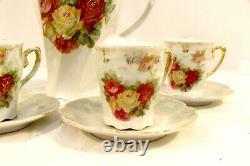 Vintage Imperial Germany Chocolate Pot Set Tea Set Red Roses German Pottery