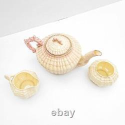 Vintage Irish Belleek Pink Limpet Shell Neptune Porcelain Tea Set, pot, 5th mark