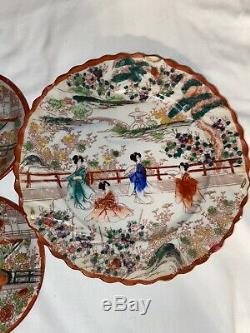 Vintage Japanese Porcelain Hand Painted Tea Set With Geisha Design