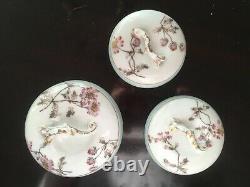 Vintage LIMOGES French Porcelain Vanity Dresser Tea Set Blue Pink 7pc