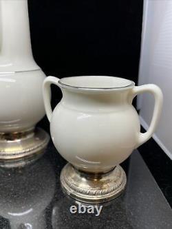 Vintage Lenox China Porcelain & Sterling Silver Base Tea Set Rare Set Antique