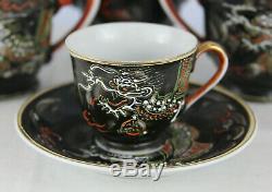 Vintage Porcelain Dragon Ware Moriage Satsuma Tea Set Teapot 11pcs