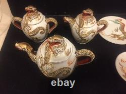 Vintage Porcelain Dragonware Moriage Tea Set With Lithophane Geisha