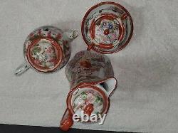 Vintage Porcelain Hand Painted Kutani-Style Moriage Japan Geisha Tea Set