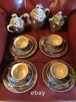 Vintage Porcelain Ware Moriage Satsuma Tea Set Lithopane Geisha