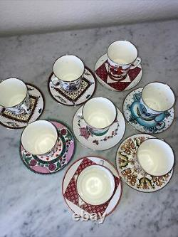 Vintage Russian Imperial Porcelain Tea Cups Set Of 8 Signed