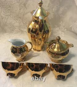 Vintage STW Bavaria Tea Set Germany24 K Gold Plate Teapot Creamer Sugar 3 Cups