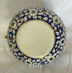 Vintage Thai Benjarong Blue, White, Gold Porcelain Tea Set with Brass Handle