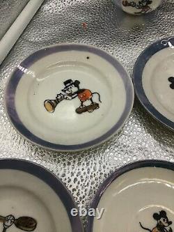 Vintage Walt Disney Mickey Minnie Mouse Porcelain Child's Tea Set Lusterware
