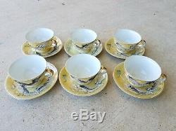 Vintage Yellow Dragonware Moriage Tea Set Plates Cups Made in Japan 21 Pieces