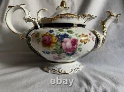 Vintage Yusui Fine Porcelain Tea Set Cobalt With 24K Trim 17 Piece Set Japan/Box
