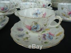 Vintage antique poppies tea set shelley style for 12 victorian 5146 bone china