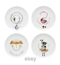 Vista Alegre Porcelain Tea With Alice Tea With Alice Set 4 Dessert Plates