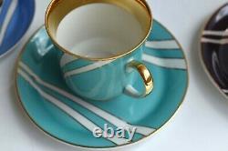 Vtg Cmielow Krokus Porcelain Tea Coffee Pot Set Teapot Cup Poland MCM Pottery