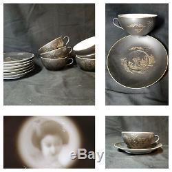 Vtg Eggshell Porcelain Tea Set 12pc Lithophane Satsuma Kutani Geisha Demitasse