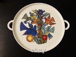 Vtg Villeroy & Boch Acapulco Vitro Porcelain Birds & Flower Tray & Tea Set RARE