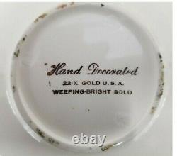 Weeping Bright 22K Gold Tea Set Tea Pot, 2 Cups & Saucers, Cream and Sugar USA