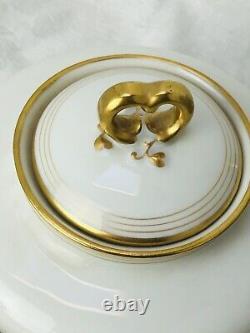 Wm Guerin Limoges France Teapot Tea Set White Porcelain 24k Gold Trim 22 Pc Vtg